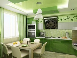 Зеленая кухня в стиле Гринвич-Виллидж
